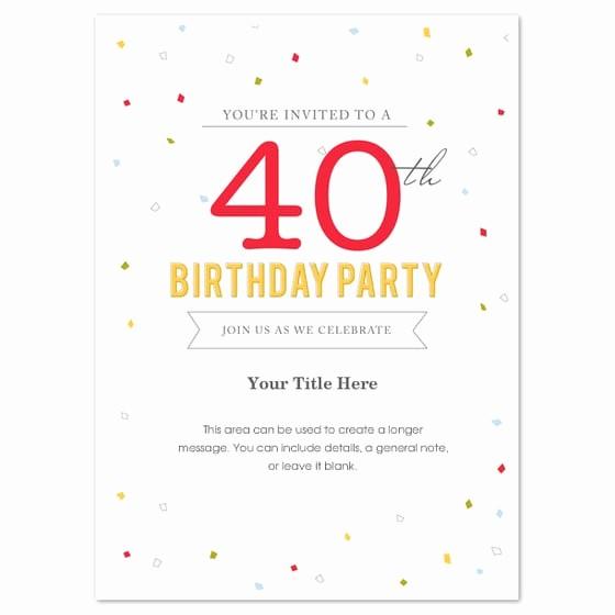 Free 40th Birthday Invitations Templates New 40th Birthday Invitation Template Word