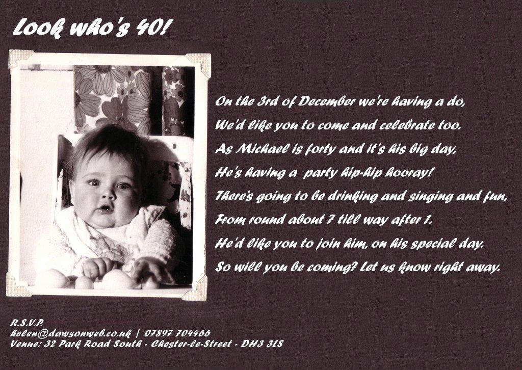 Free 40th Birthday Invitations Templates New 40th Birthday Party Invitation Wording