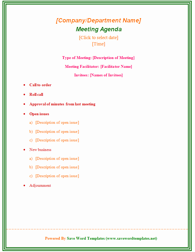enticing template word sample for meeting agenda with type of meeting and facilitator and invitees also colorful font and green outline
