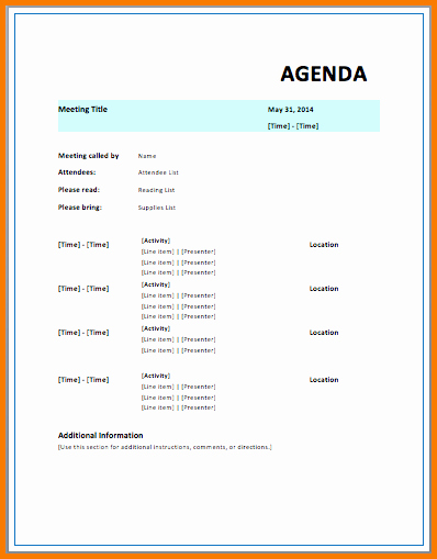 Free Agenda Templates for Word Inspirational Microsoft Agenda Template