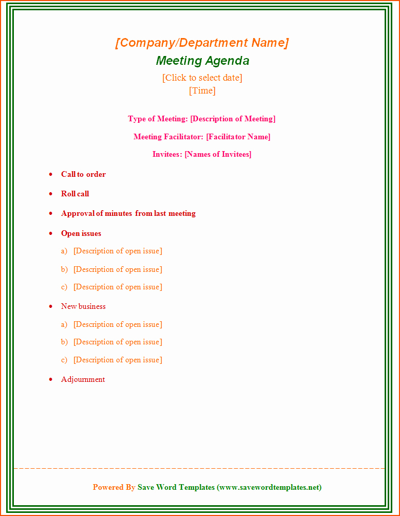 Free Agenda Templates for Word Luxury 7 Free Meeting Agenda Templates Bookletemplate