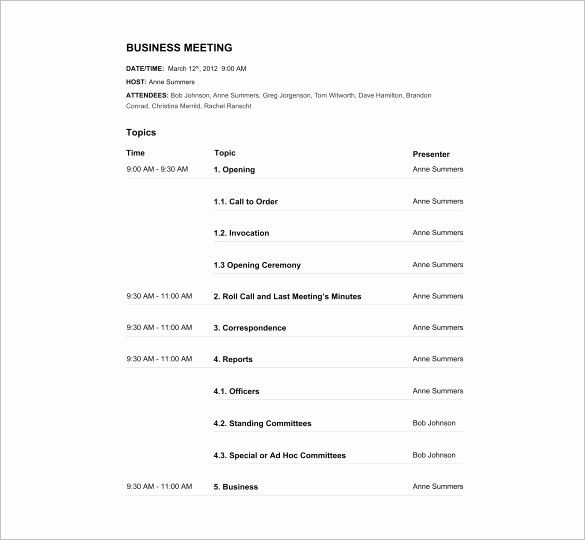 Free Agenda Templates for Word Luxury Agenda Template – 24 Free Word Excel Pdf Documents