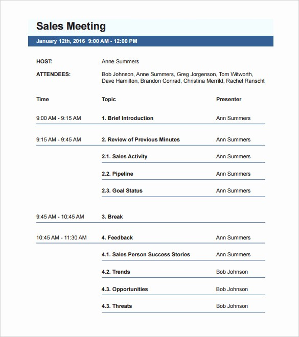 Free Agenda Templates for Word New 50 Meeting Agenda Templates Pdf Doc