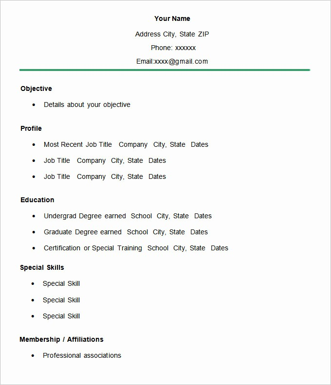 Free and Easy Resume Templates Beautiful Simple Resume Template 46 Free Samples Examples