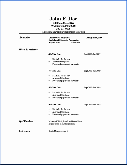 Free and Easy Resume Templates Best Of Basic Resume Templates