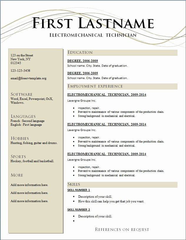 Free and Easy Resume Templates Best Of Resumes Free Resume Templates 2015 and Best Action Words