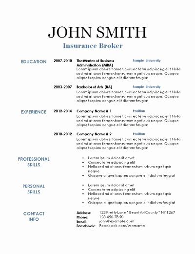 Free and Easy Resume Templates Fresh Free Printable Resume Templates Printable Resume Template