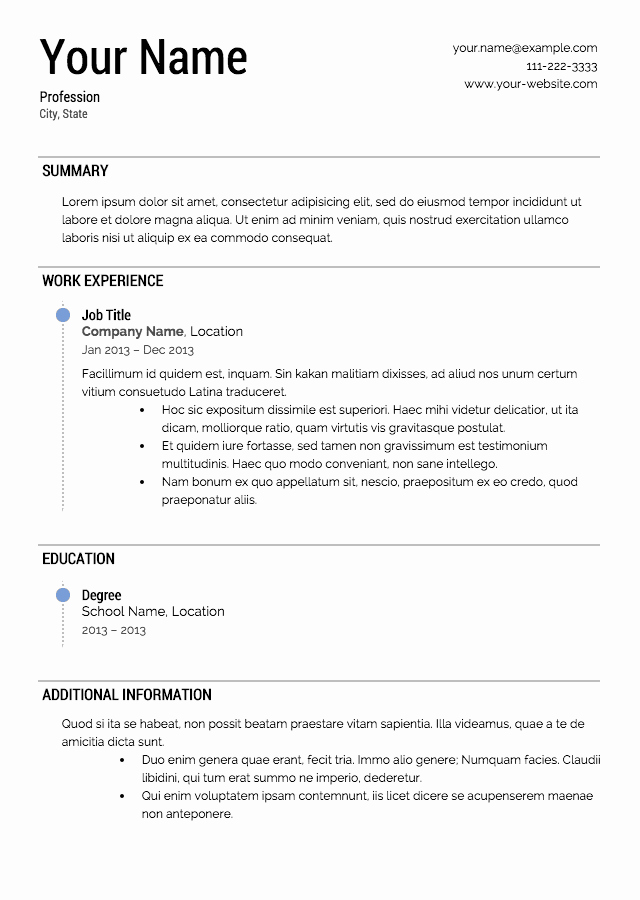 Free and Easy Resume Templates Inspirational Free Resume Templates
