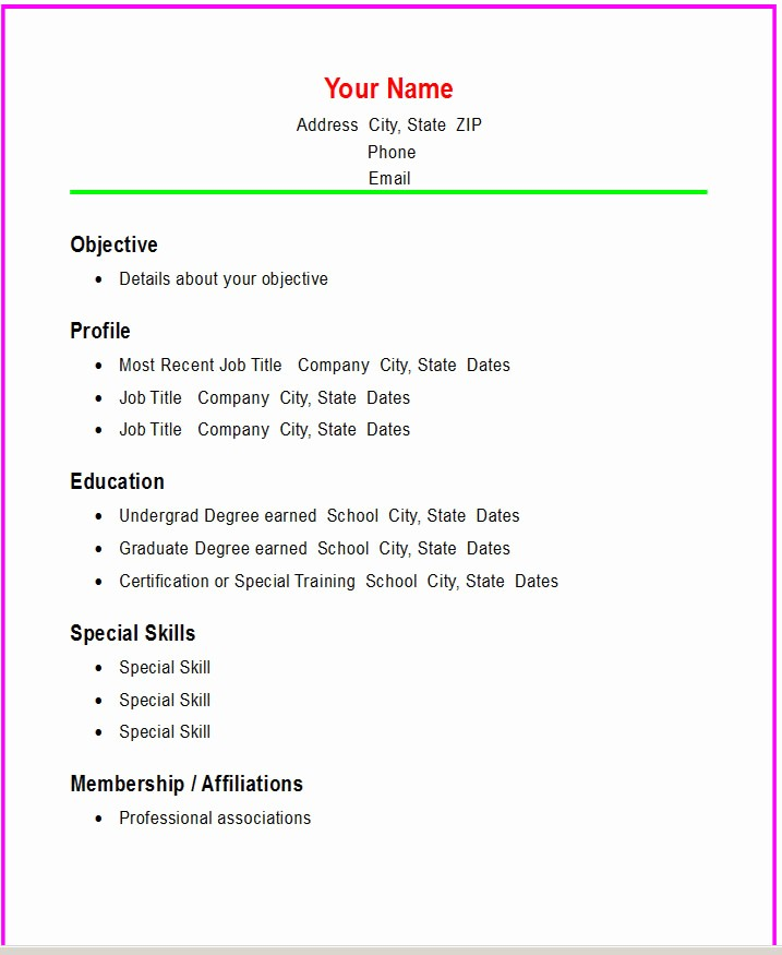Free and Easy Resume Templates Luxury Basic Chronological Resume Template ← Open Resume Templates