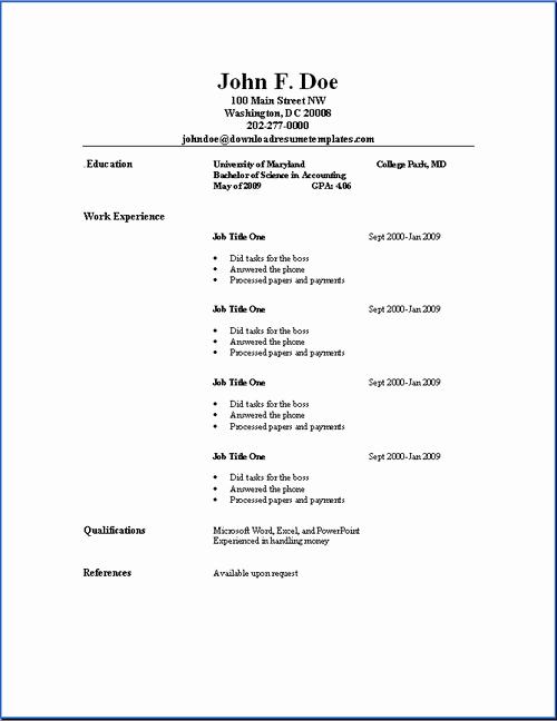 Free and Easy Resume Templates Luxury Basic Resume Templates