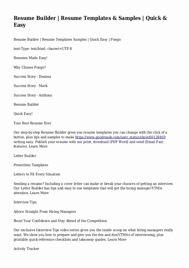 Free and Easy Resume Templates Luxury Resume Builder Resume Templates & Samples