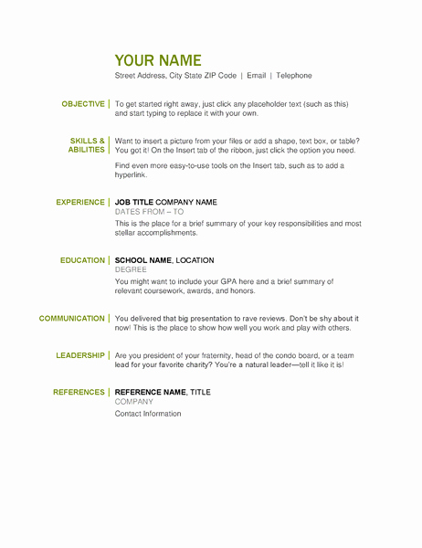 Free and Easy Resume Templates New Basic Resume