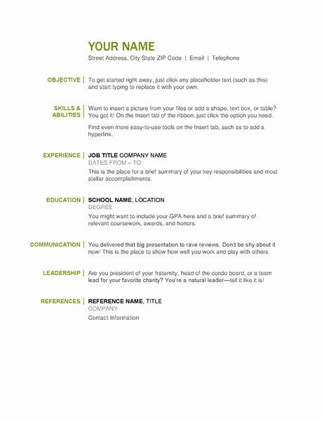 Free and Easy Resume Templates New Basic Resume