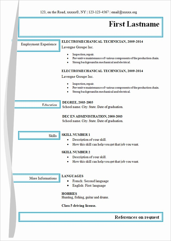 Free and Easy Resume Templates New Simple Resume Template 46 Free Samples Examples