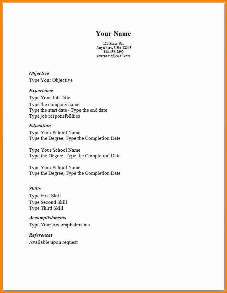 Free and Easy Resume Templates Unique 5 Easy Simple Resume Template