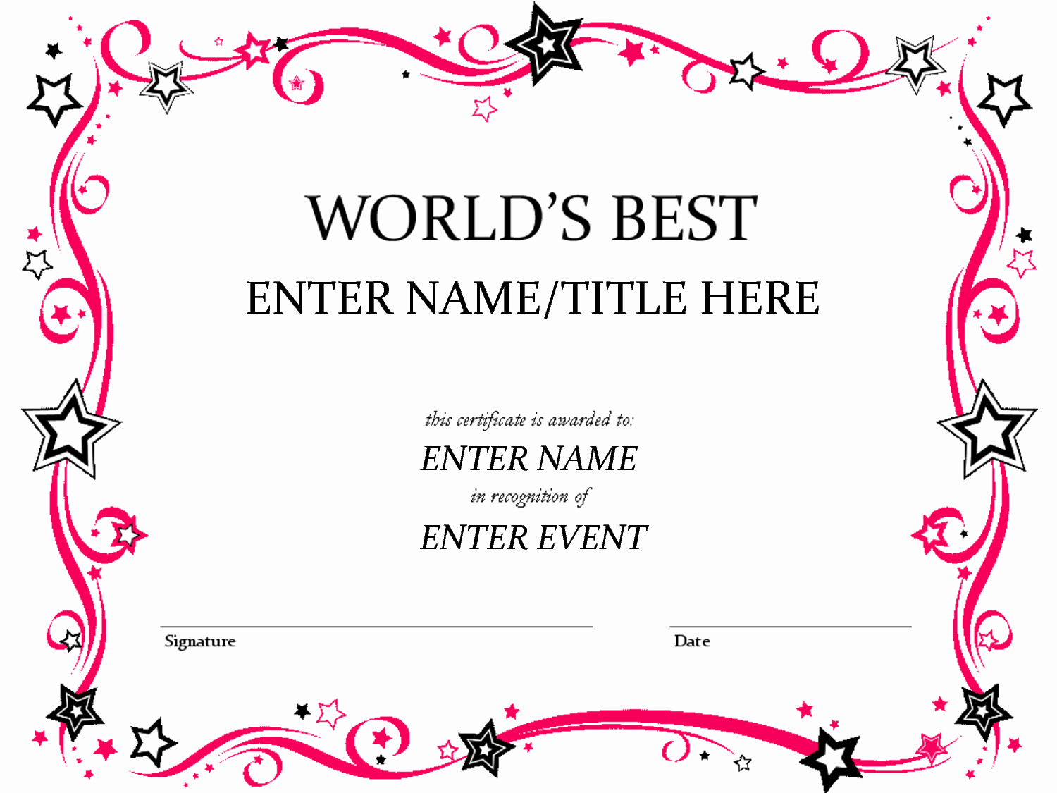 Free Award Certificate Template Word Awesome Free Funny Award Certificates Templates