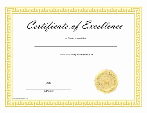 Free Award Certificate Template Word Luxury Certificate Of Excellence Template