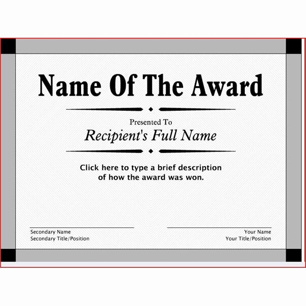 Free Award Certificate Template Word New 29 Printable Award themes Certificates