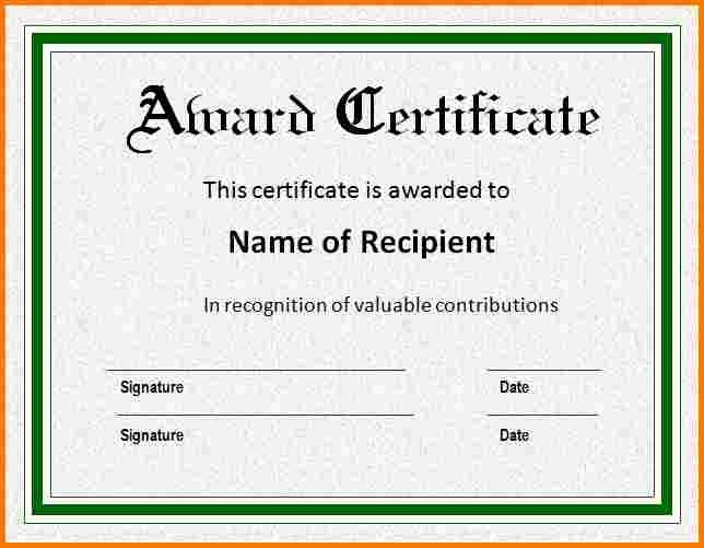Free Award Certificate Template Word New Award Template Word