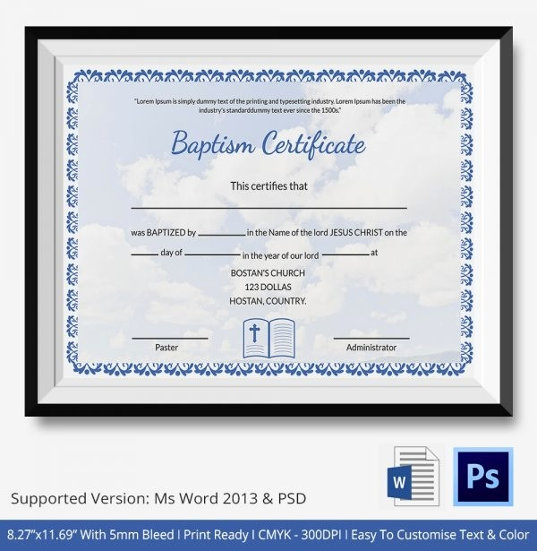 Free Baptism Certificate Template Word Inspirational 21 Sample Baptism Certificate Templates Free Sample