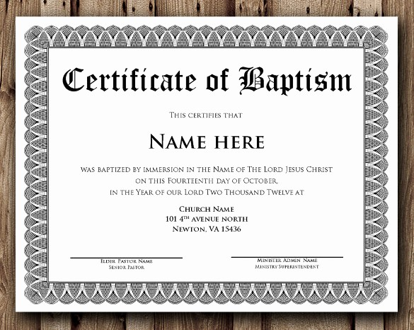 Free Baptism Certificate Template Word Inspirational 36 Word Certificate Templates