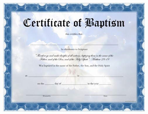 Free Baptism Certificate Template Word Lovely Baptism Certificate Free Printable Allfreeprintable