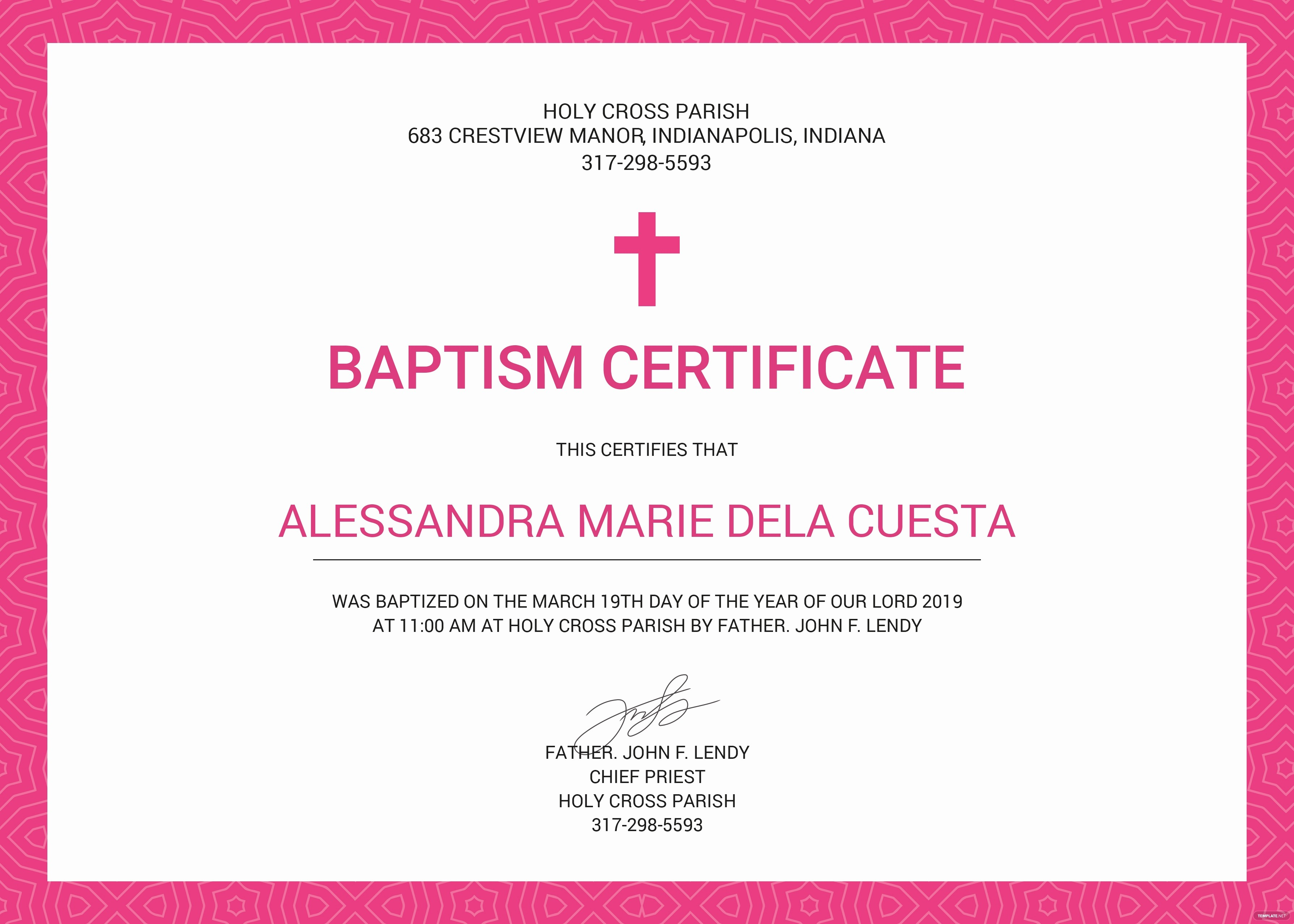 Free Baptism Certificate Template Word New Free Baptism Certificate Template In Psd Ms Word