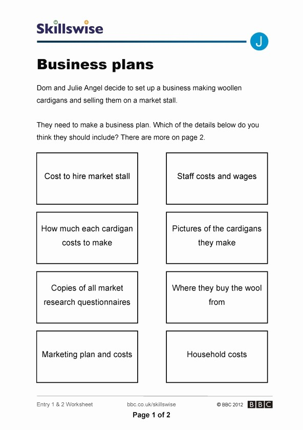 Free Basic Business Plan Template Awesome Business Plan Worksheet for Students