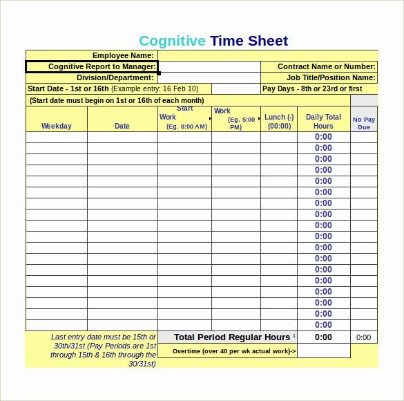 Free Bi Weekly Timesheet Calculator Awesome 8 Monthly Timesheet Calculators – Samples Examples