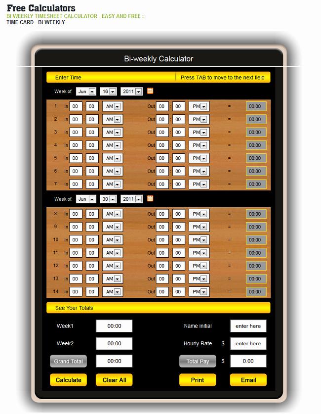 Free Bi Weekly Timesheet Calculator Beautiful top 5 Timesheet Calculators to Sum Up Working Hours