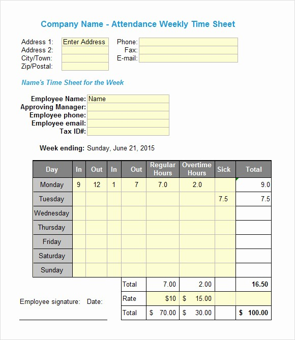 Free Bi Weekly Timesheet Calculator Best Of 19 Sample Excel Timesheets