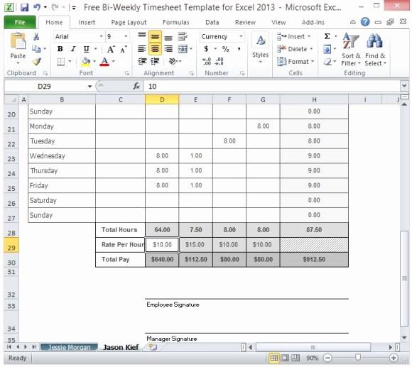 Free Bi Weekly Timesheet Calculator Elegant Excel Timesheet Multiple Jobs Free Bi Weekly Timesheet