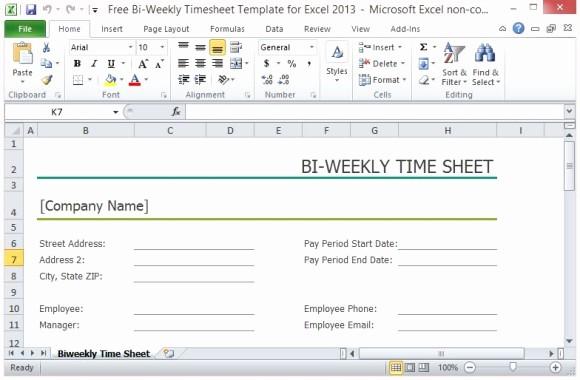 Free Bi Weekly Timesheet Calculator Elegant Free Bi Weekly Timesheet Template for Excel 2013