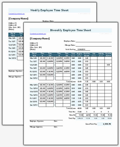 Free Bi Weekly Timesheet Calculator Fresh Time Sheet Template for Excel Timesheet Calculator