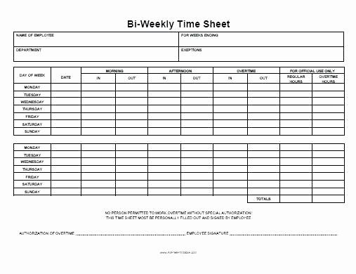 Free Bi Weekly Timesheet Calculator Inspirational Excel Biweekly Timesheet Time Sheet Excel Template Payroll