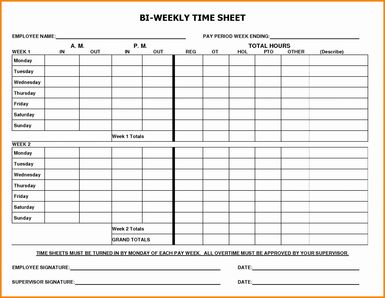 Free Bi Weekly Timesheet Calculator Lovely Free Bi Weekly Time Card Calculator with Lunch Biweekly