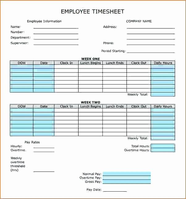 Free Bi Weekly Timesheet Calculator New Bi Weekly Timesheet Template with Lunch Blank Biweekly In