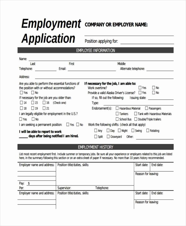 Free Bilingual Employment Application form Beautiful Free Employment form Samples 35 Free Documents In Word Pdf