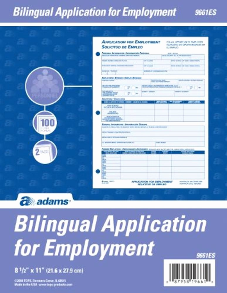 Free Bilingual Employment Application form Fresh wholesale Bilingual Employee Application Abf9661es In Bulk
