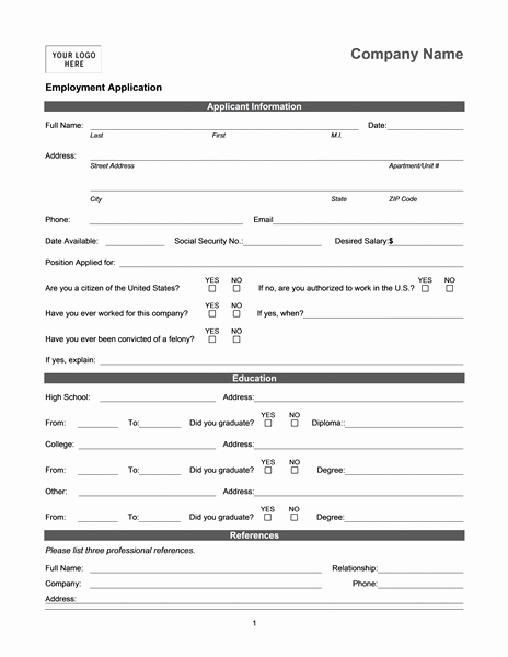 Free Bilingual Employment Application form Lovely Employment Application Online
