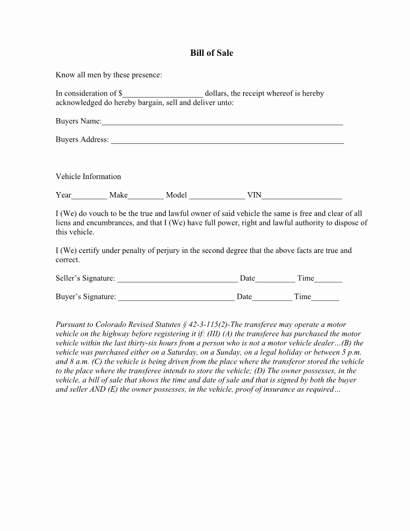Free Bill Of Sale Auto Awesome Free Colorado Vehicle Bill Of Sale form Download Pdf