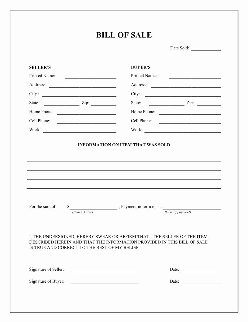 Free Bill Of Sale Auto Elegant Bill Of Sale Firearm Vehicle Bill Of Sale form Dmv Auto