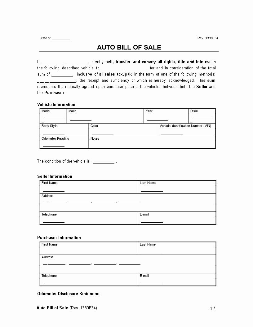 Free Bill Of Sale Auto Fresh Free Automobile Bill Sale