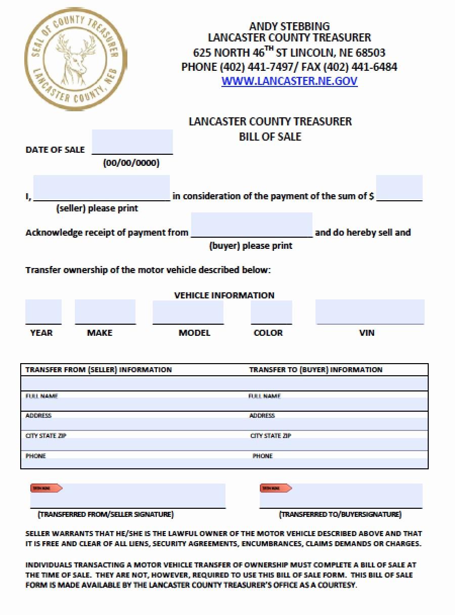 Free Bill Of Sale Auto Fresh Free Lancaster County Nebraska Vehicle Bill Of Sale form