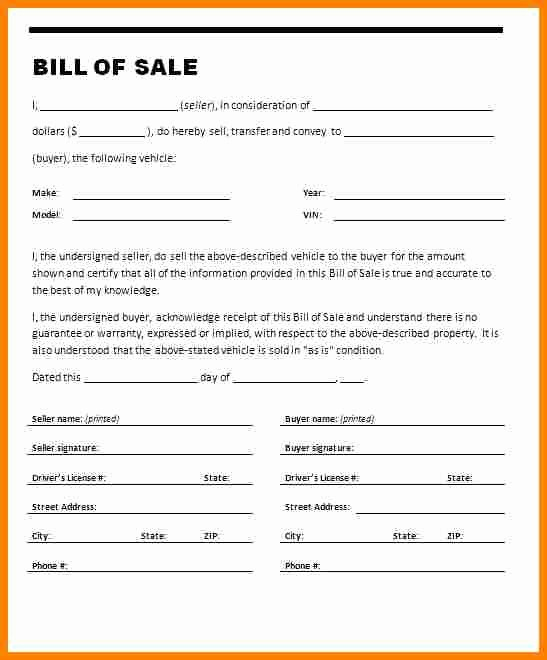 Free Bill Of Sale Auto Lovely 20 Free Vehicle Bill Of Sale Template