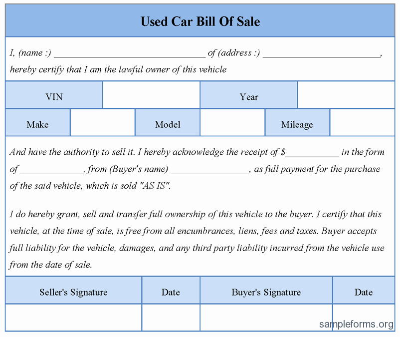 Free Bill Of Sale Auto Lovely Free Printable Free Car Bill Of Sale Template form Generic
