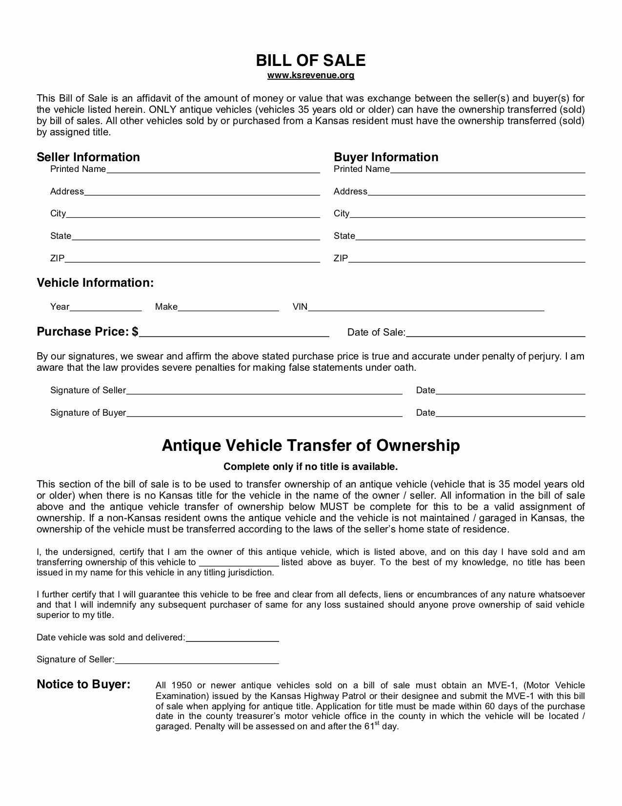 Free Bill Of Sale Auto Luxury Free Kansas Bill Of Sale form Pdf Template