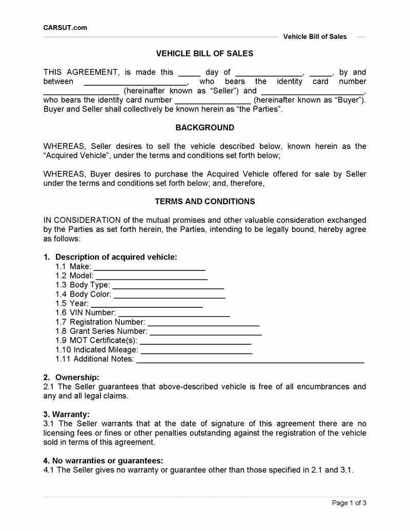 Free Bill Of Sale Contract Beautiful Auto Purchase Agreement Example Mughals