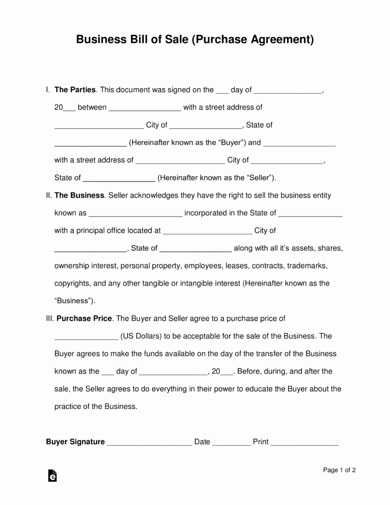 Free Bill Of Sale Contract Best Of Free Business Bill Of Sale form Purchase Agreement