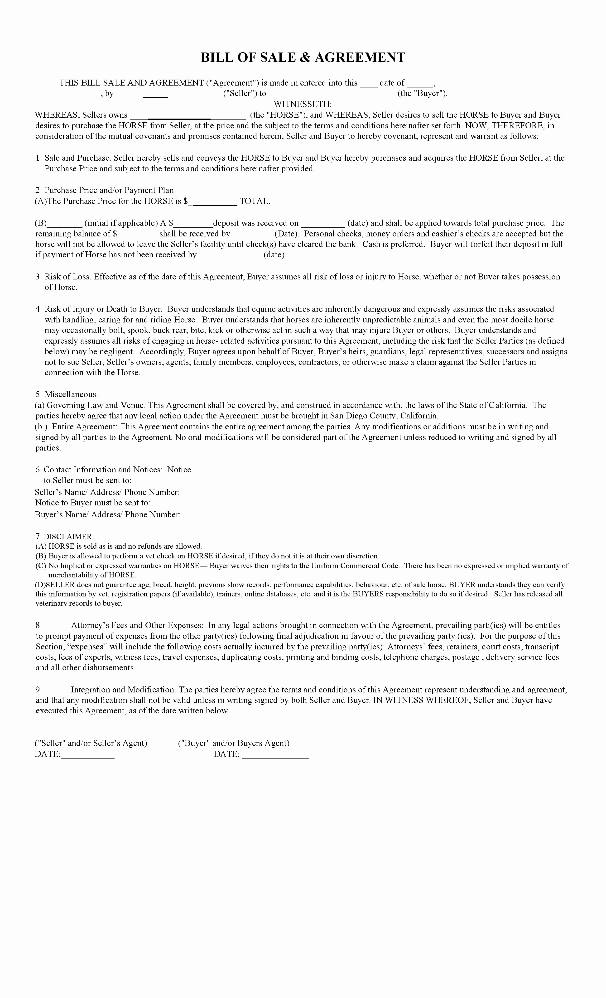 Free Bill Of Sale Contract Luxury Free California Horse Bill Of Sale & Agreement Template